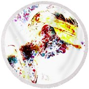 Maria Sharapova Paint Splatter 4p                 Round Beach Towel by Brian Reaves