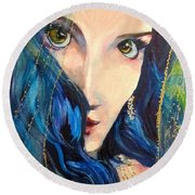Mariah Blue Round Beach Towel