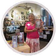 Round Beach Towel featuring the photograph Marie And The Recordkeeper by Marie Neder