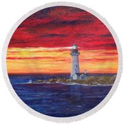 Marien's View Round Beach Towel by T Fry-Green