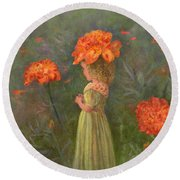 Round Beach Towel featuring the painting Marigold Flower Fairy by Nancy Lee Moran
