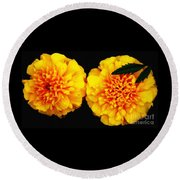 Marigolds With Oil Painting Effect Round Beach Towel by Rose Santuci-Sofranko