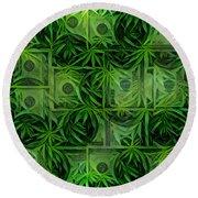 Marijuana Dollars Round Beach Towel