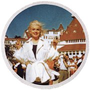 Marilyn And Turrett Round Beach Towel