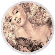 Marilyn Cherry Blossom, B Sepia Round Beach Towel