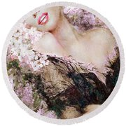 Marilyn Cherry Blossom B Round Beach Towel
