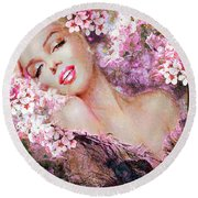 Marilyn Cherry Blossoms Pink Round Beach Towel