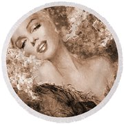 Marilyn Cherry Blossoms, Sepia Round Beach Towel