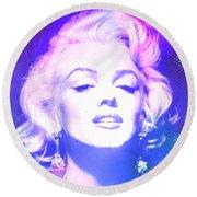 Marilyn Disco Retro Round Beach Towel by Kim Gauge