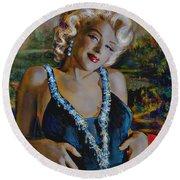Marilyn Monroe 126 Monalisa Round Beach Towel
