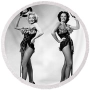 Marilyn Monroe And Jane Russell Round Beach Towel by American School