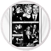 Marilyn Monroe And Joe Dimaggio 1950s Photos By Unknown Japanese Photographer Round Beach Towel
