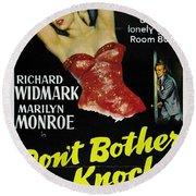 Marilyn Monroe And Richard Widmark In Don't Bother To Knock Round Beach Towel