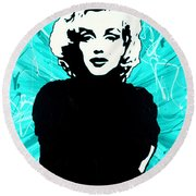 Marilyn Monroe Blue Green Aqua Tint Round Beach Towel