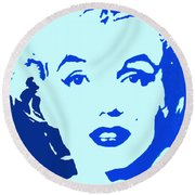 Round Beach Towel featuring the painting Marilyn Monroe Blue Pop Art Portrait by Bob Baker