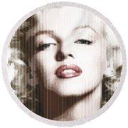 Marilyn Monroe - Colored Verticals Round Beach Towel