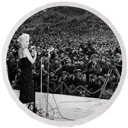 Marilyn Monroe Entertaining The Troops In Korea Round Beach Towel by American School