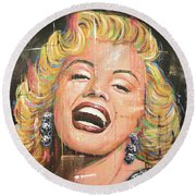 Marilyn Monroe Film Movie Actress Art Painting Round Beach Towel