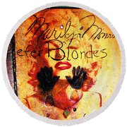 Round Beach Towel featuring the photograph Marilyn Monroe Gentlemen Prefer Blondes 20160105 by Wingsdomain Art and Photography