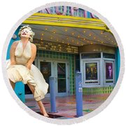 Marilyn Monroe In Front Of Tropic Theatre In Key West Round Beach Towel by David Smith
