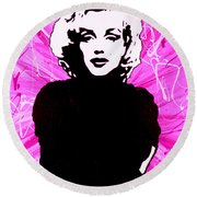 Marilyn Monroe In Hot Pink Round Beach Towel