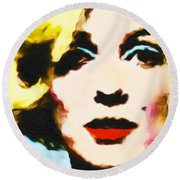 Round Beach Towel featuring the painting Marilyn Monroe by Joan Reese