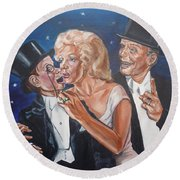 Marilyn Monroe Marries Charlie Mccarthy Round Beach Towel by Bryan Bustard