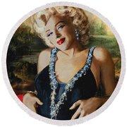 Marilyn Monroe  Mona Lisa  Round Beach Towel