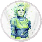 Marilyn Monroe Round Beach Towel by Olga Shvartsur