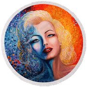Round Beach Towel featuring the painting Marilyn Monroe Original Acrylic Palette Knife Painting by Georgeta Blanaru