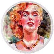 Marilyn Monroe Painting Round Beach Towel