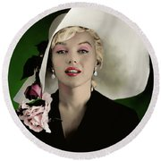 Marilyn Monroe Round Beach Towel by Paul Tagliamonte