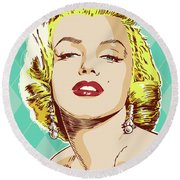 Marilyn Monroe Pop Art Round Beach Towel