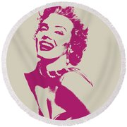 Marilyn Monroe Vector Pop Art Portrait Round Beach Towel by Design Turnpike