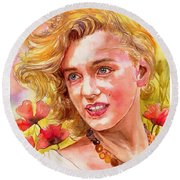 Marilyn Monroe With Poppies Round Beach Towel