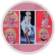 Marilyn Monroe With Sketches Round Beach Towel
