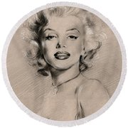 Marilyn Monroe Round Beach Towel by Ylli Haruni