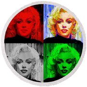 Marilyn Monroe - Quad. Pop Art Round Beach Towel