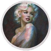Marilyn Romantic Ww Dark Blue Round Beach Towel