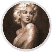 Marilyn Ww Sepia Round Beach Towel