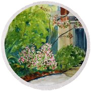 Marin Art And Garden Center Round Beach Towel by Tom Simmons