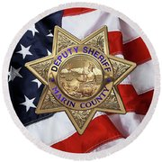 Round Beach Towel featuring the digital art Marin County Sheriff Department - Deputy Sheriff Badge Over American Flag by Serge Averbukh