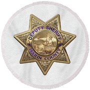Round Beach Towel featuring the digital art Marin County Sheriff Department - Deputy Sheriff Badge Over White Leather by Serge Averbukh