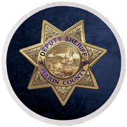 Round Beach Towel featuring the digital art Marin County Sheriff's Department - Deputy Sheriff's Badge Over Blue Velvet by Serge Averbukh