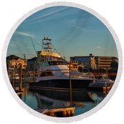 Round Beach Towel featuring the photograph Marina At Sunset by Kathy Baccari