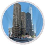 Marina City, Ama Plaza, And Trump Tower Round Beach Towel