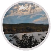 Round Beach Towel featuring the photograph Marina Colors by Tom Singleton
