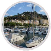Marina In Blanes Town In Spain Round Beach Towel