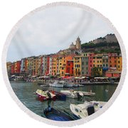 Marina Of Color Round Beach Towel