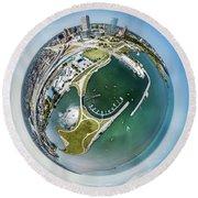 Round Beach Towel featuring the photograph Marina by Randy Scherkenbach